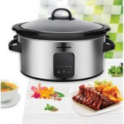 Slow cooker Heinner, 220 W, 5.7 L, vas ceramic, display LED, timer și 3 setări temperatură, Inox